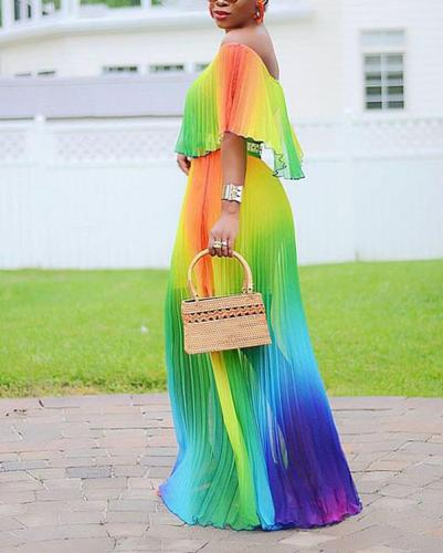 Gradient Pleated Sexy Maxi Dress