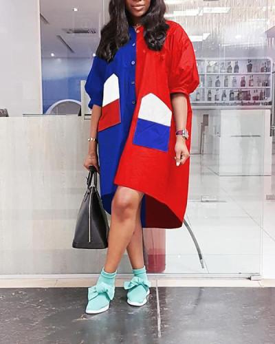 Plus Size Color Splicing Wind Coat Dress