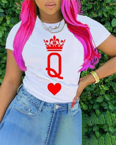 Casual O Neck Short Sleeve Q Print T-shirt Tops