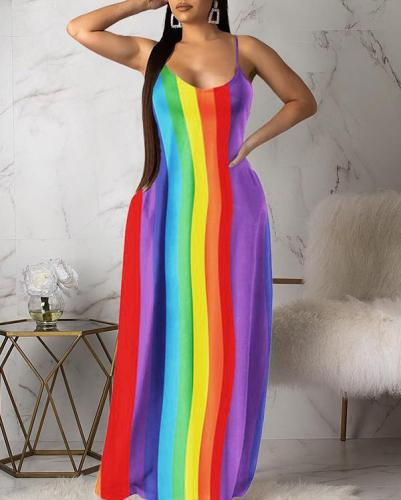 Casual Fashion Rainbow Striped Colorful Dress