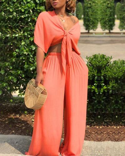 Sexy Lace-up Deep V Wide-leg Pants Two-piece Suit