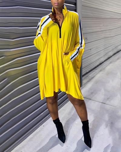Street Turndown Collar Patchwork Asymmetrical Plus Size Dress