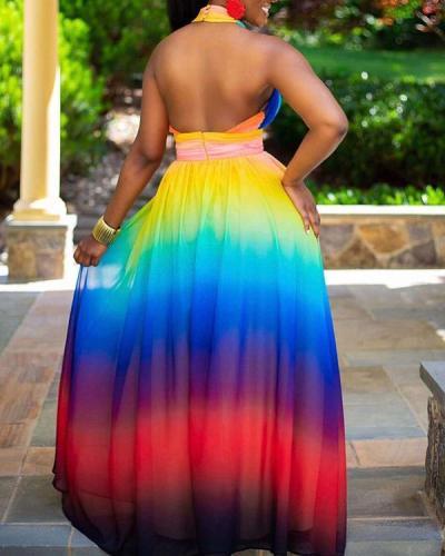 Cross Halter Off-the-shoulder Gradient Print Dress