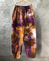 Letter Printed Mixed Color Print Pants