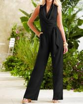 Fashion Solid Sleeveless Lace Up V Neck Jumpsuits
