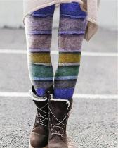 Stretchy Print Leggings Casual Milk Fabric Pants