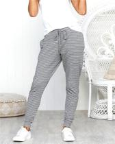 Stripes Drawstring Casual Long Pants