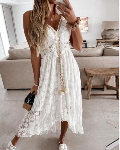Lace Solid Tassel Sleeveless A-line Slip/Skater Casual Maxi Dresses
