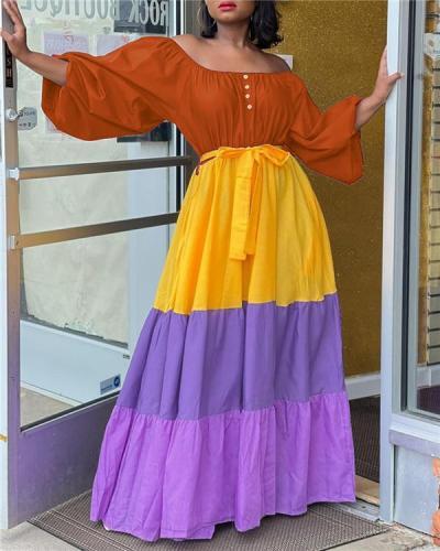 Colorblock Off-Shoulder Maxi Dress