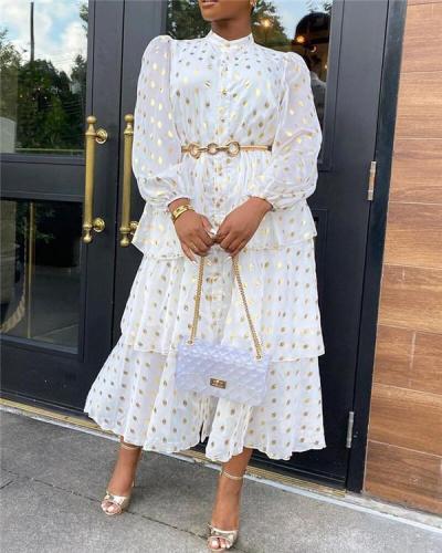 Chiffon white print loose waist temperament commuter dress