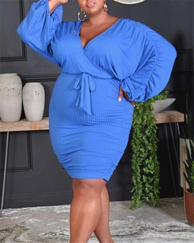 Solid color bag hip dress