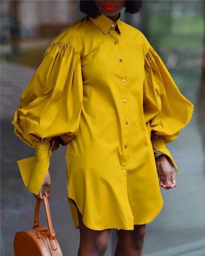 Lapel Puff Sleeve Lapel Shirt Dress
