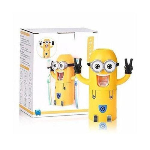 Minion Wall Mounted Automatic Toothpaste Dispenser and Toothbrush Holder Set