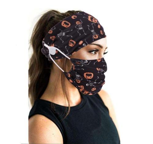 Halloween Style Face Mask & Button Headband Set