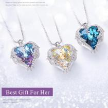 Beautiful Crystal Heart & Angel Wing Necklace