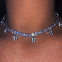 Shiny Butterfly Choker Necklace