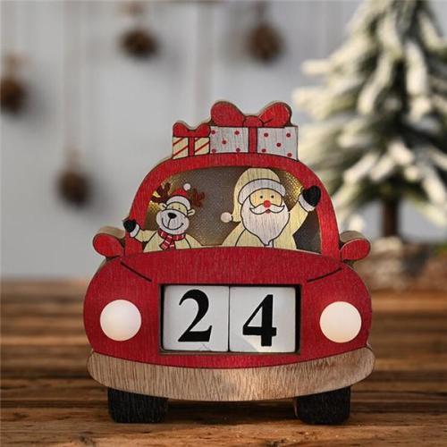 Christmas Car Calendar With Lights Wooden Ornaments