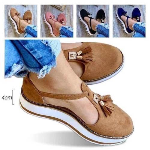 #No.1 Summer Trend | Women's Casual Platform Flat Comfort Fringe Shoes