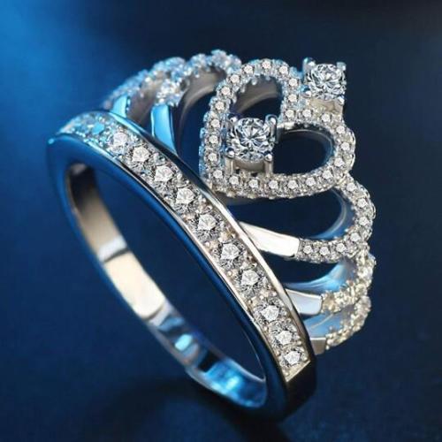 Sterling Silver CZ Princess Crown Ring