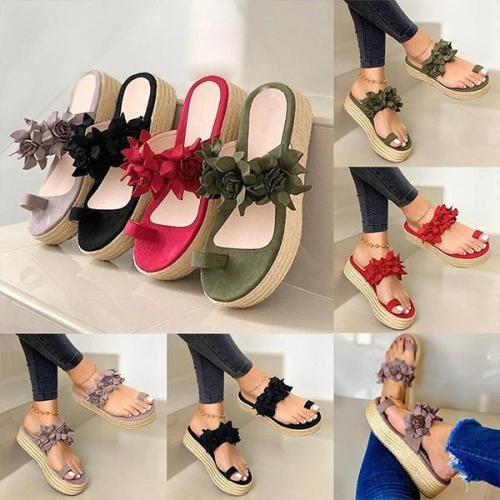 Women Casual Daily Flower Slip On Platform Sandals