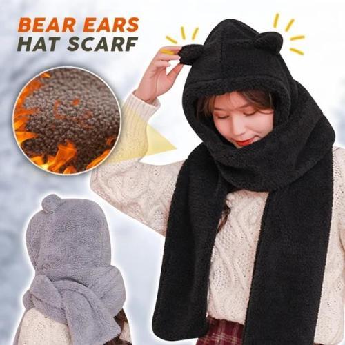 Warm Cute Bear Ear Hat Scarf  Set