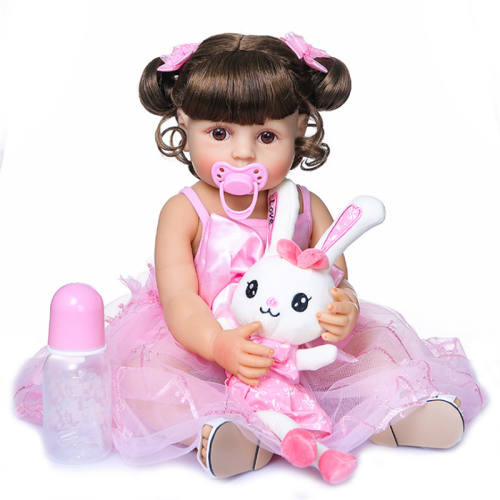 Lovely Pink Lace Dress Girl 22 Inch Lifelike Silicone Full Body Doll