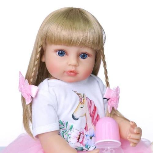 Lovely Straight Hair Girl 22 Inch Lifelike Silicone Full Body Doll
