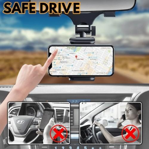 Universal 360° Car Rearview Mirror Mount Phone Holder