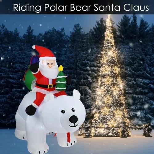 Riding Polar Bear Santa Claus