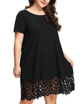 Plus Size Lace Solid Short Sleeves Casual Dress