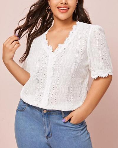 Summer Lace Short Sleeve Plus Size Blouse