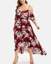 Floral Print Cold Shoulder Midi Casual Vacation Dress