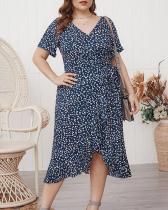 Floral Print Ruffled Plus Size Dress