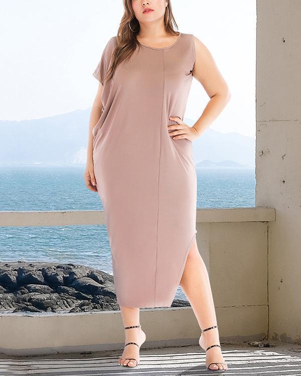 Plus Size Tunic Solid Casual Elegant Midi Dress