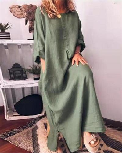 Vintage Plus Size Linen Solid Women's Maxi Dress