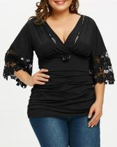 Cross Pleated Stitching Lace Half Sleeve Top