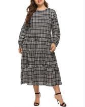 Long V-neck Plus Size Plaid Dress