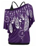 Plus Size Feather Print Skew Neck Tank T-shirt