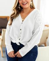 Plus Size Solid Color Sweater Blouse