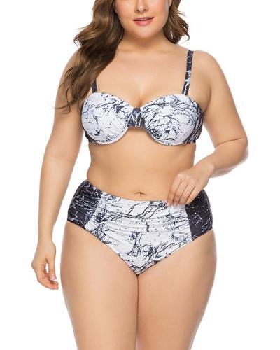 Plus Size Marble Print Women's Split Swimsuit
