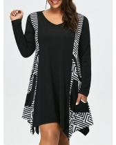 Plus Size Print Long Sleeves Casual Dress