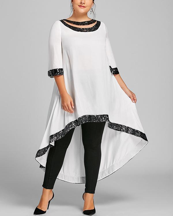 3/4 Length Sleeve Backless Plus Size Midi Dress