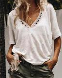 Plus Size Women Solid V Neck  Chic Summer Vacation Holiday Tops