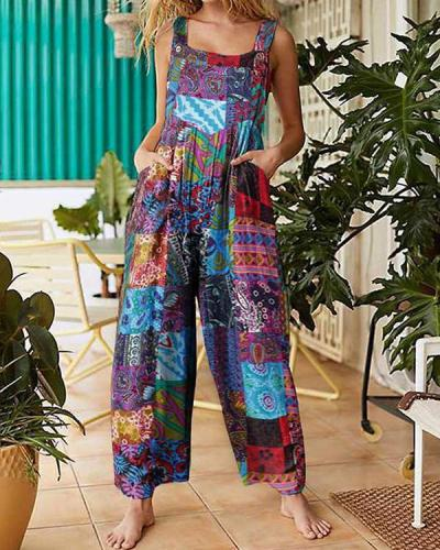 Plus Size Loose Ethnic Print Straps Pockets Vintage Jumpsuit For Women