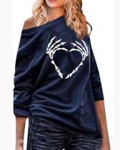 Women's Fashion Long Sleeve Skull Print Casual Loose Sweatshirt Top Plus Size