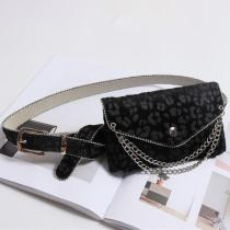 Women Leopard Pattern Waist Bag Chain Fashion Bag