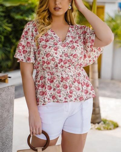 Floral Print V-neck Short Sleeve Plus Size Blouse