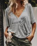 Printed Short Sleeved Casual V Neck Plus Size T-Shirt Top