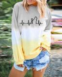 Plus Size Gradient Round Neck Holiday Fall Daily Casual Blouse