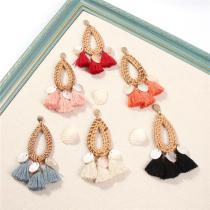 Women's Bohemian Fringed Shell Earrings